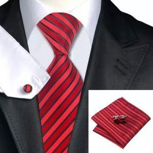 Other - Men's Silk Coordinated Tie Set, Red Black Striped